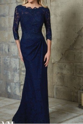 VM by Mori Lee Navy Lace Sleeve Beaded Mother of Bride Gown