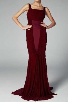 Bordo Red Sleeveless Trumpet Evening Dress Gown