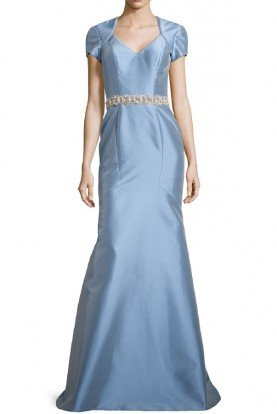 theia Ise Powder Blue Satin Mermaid Belted Dress Gown