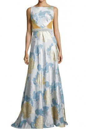 theia Silver Ice Blue Sleeveless Floral Gown Dress