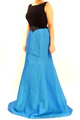 Long Color Block Blue Sleeveless Mermaid Gown
