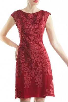 Sue Wong Wine Color Satin Embroidered Sheath Dress