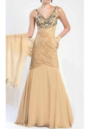 Sue Wong Gold Nude Sleeveless Gatsby Dress Gown