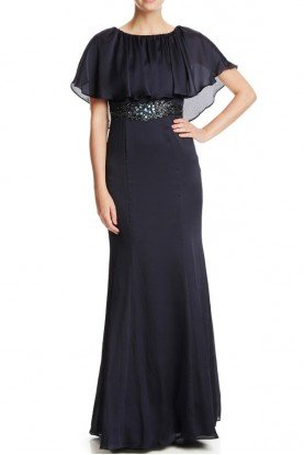 Beaded Waist Capelet Gown in Navy