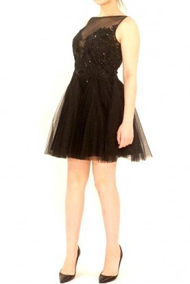 Black Sequin and Tulle A Line Party Dress