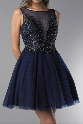 Navy Sequin and Tulle Party A Line Dress