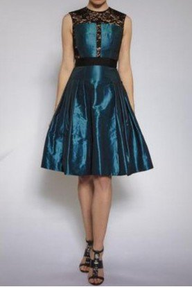 Teal Black Cutout A Line Lace cocktail Party Dress