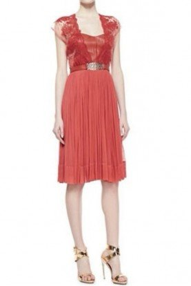 Catherine Deane Coral Red Lace A Line Chiffon Dress Leather Bodice