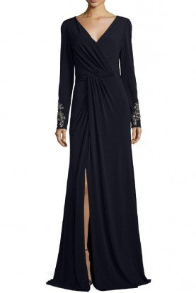 David Meister Navy Blue Long Sleeve Cuff Beaded Jersey Gown