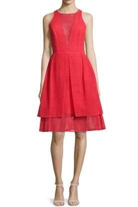 Red Flame Sleeveless Eyelet Sheath Dress