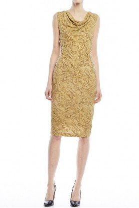 Escada Draped Neck Sleeveless Lace Sheath Dress