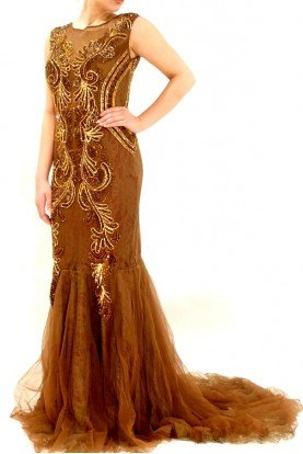 Saboroma Sleeveless Lace Mermaid Beaded Evening Dress Gown