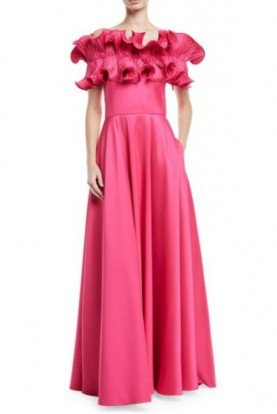 Badgley Mischka Hot Pink Ruffle Off The Shoulder Evening Gown Prom