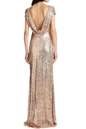 Blush Cowl Back Sequin Gown  Cap Sleeve