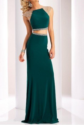 Clarisse Dazzling  Emerald Green Two Piece Prom Dress 3024
