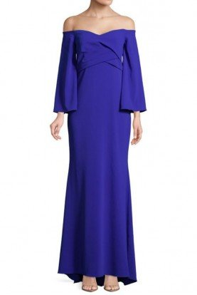 Badgley Mischka Off the Shoulder Long Sleeve Blue Formal Gown