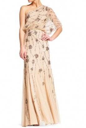 One Shoulder Beaded Blouson Gown in Nude