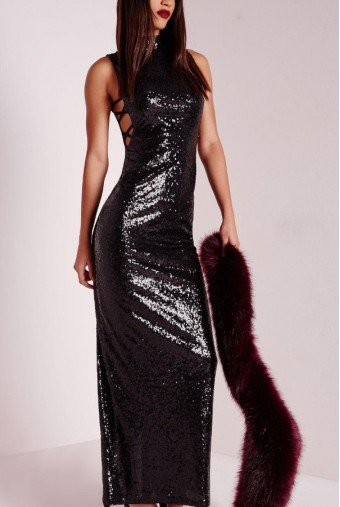 Missguided Kenya Black Sequin Cutout Evening Gown Prom Dress