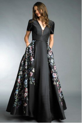 Black Short Sleeve Hand Painted Floral Ball Gown