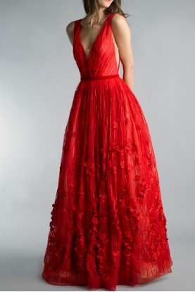 Red Sleeveless Applique Evening A Line Ball Gown