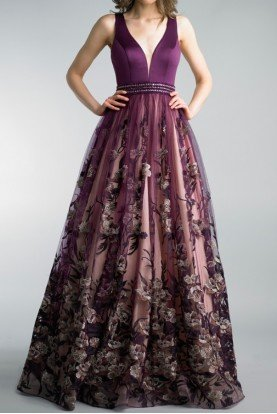 Basix Black Label Purple Sleeveless Floral A Line Evening Gown