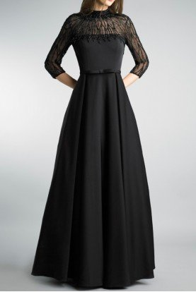 Black Embellished Evening DressA Line Gown