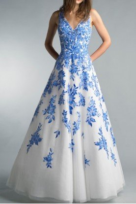 Basix Black Label Blue White Floral A Line Evening Ball Gown