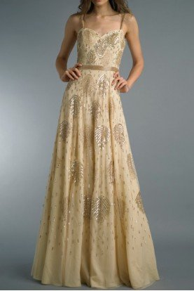 Sleeveless Champagne Sequin Evening Gown