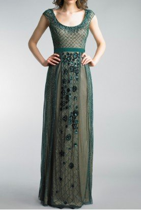 Basix Black Label Dark Green Cap Sleeve Embroidered Evening Gown