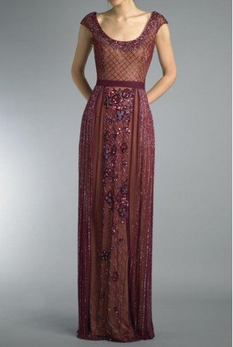 Basix Black Label Burgundy Cap Sleeve Embroidered Evening Gown