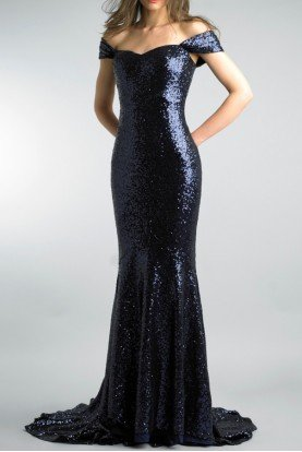 Basix Black Label Navy Blue Off the Shoulder Sequined Evening Gown