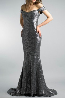 Basix Black Label Charcoal Off the Shoulder Sequined Evening Gown