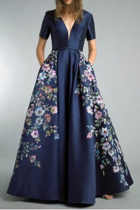 Basix Black Label Short Sleeve Navy Blue A Line Floral Ball Gown