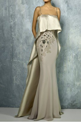 Beige Gold Strapless Fitted Evening Gown