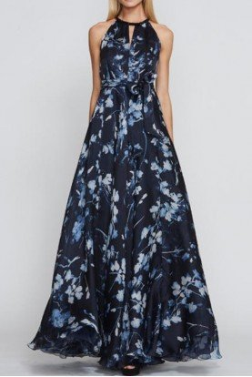 Blue Midnight Floral Beaded Neck Gown