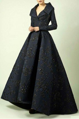 Divina by Edward Arsouni Long Sleeve Navy Blue A Line Ball Gown