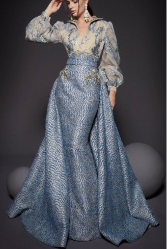 Fouad Sarkis Couture Silver Blue Long Blouson Long Sleeve Gown Dress