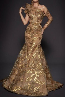 Couture One Sleeve Gold Ball Gown