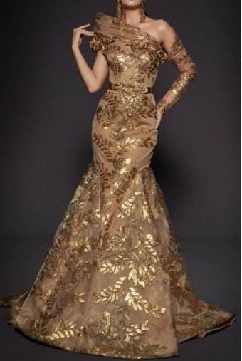 Fouad Sarkis Couture Couture One Sleeve Gold Ball Gown