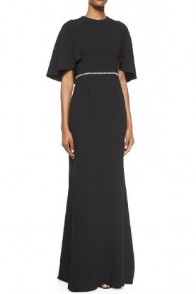 Carmen Marc Valvo Black Elegant Crepe Capelet Gown Dress