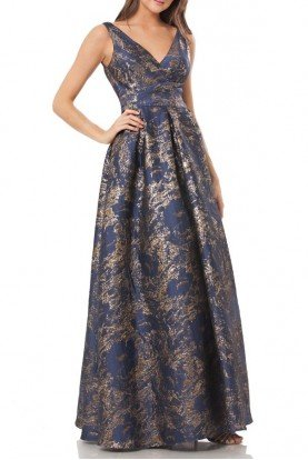 Carmen Marc Valvo Infusion Sleeveless V Neck A Line Navy Gold Ball Gown