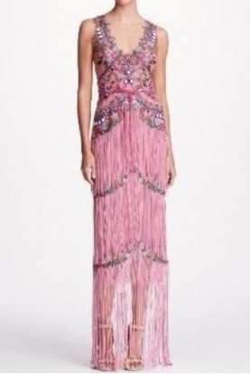 Marchesa Notte Lilac Pink Beaded Fringe Evening Dress Gown