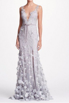 Marchesa Notte Silver Deep V Neck Embroidered Evening Gown Dress