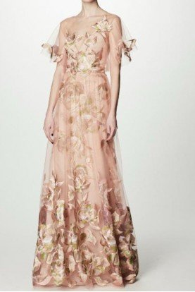 Blush Floral Embroidered Tulle Evening Gown