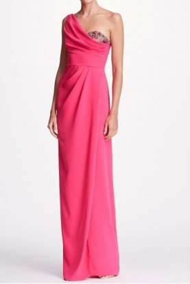 Marchesa Notte Hot Pink One Shoulder Side Draped Evening Gown
