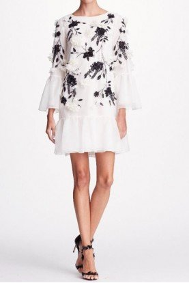 Ivory Long Sleeve All Over 3D Beaded Tunic Dress
