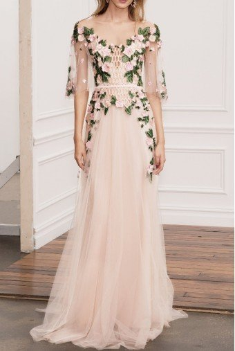 Marchesa Notte Pink Off Shoulder Illusion Evening Gown