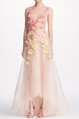 Marchesa Notte Blush Sleeveless 3D Floral High Low A Line Gown