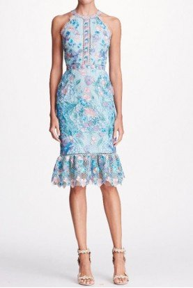 Marchesa Notte Blue Sleeveless Guipure Lace Cocktail Dress SS2018