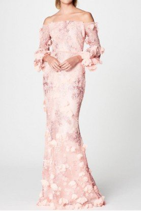 Marchesa Notte Blush Pastel Pink Off Shoulder 3D Embroidered Gown